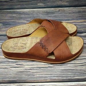 ANTHROPOLOGIE Kork Ease Leather Cork Sandals sz 9
